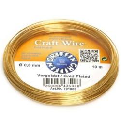 Griffin Craft Wire GP 0.6mm - sarma modelaj din cupru placat cu aur - 10m