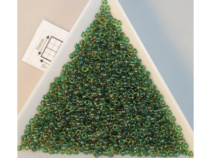 Toho R11-242, Inside-Color Luster Jonquil/Emerald Lined, 10g