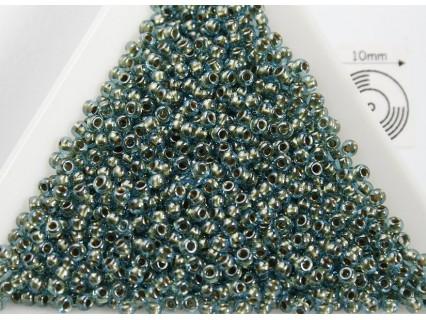 Toho R11-284, Inside-Color Aqua/Gold Lined, 10g