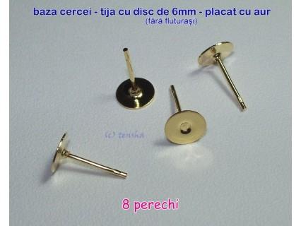 Tortite cercei tija cu disc de 6mm GP, 8 perechi