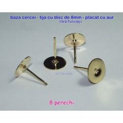 Tortite cercei tija cu disc de 8mm GP, 8 perechi