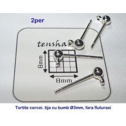 Tortite cercei tija cu bila de 3mm si za SP, 2 perechi