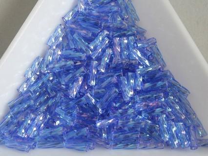 SP06-25 margele Matsuno tub spiralat 6mm, transparent rainbow medium blue, 5g