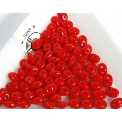 Margele sticla Cehia forma superduo 2.5 x 3 x 5 mm culoare rosu opac (5 gr) T43