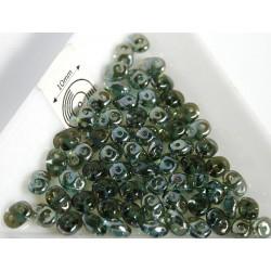 Margele sticla Cehia forma superduo 2.5 x 3 x 5 mm culoare aquamarine celsian (5 gr) T50