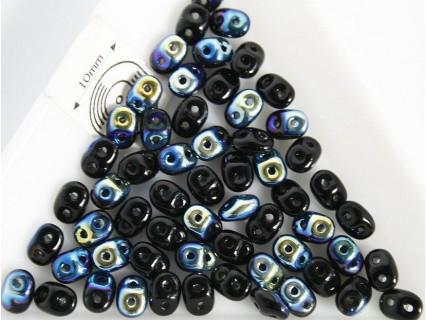 Margele sticla Cehia forma superduo 2.5 x 3 x 5 mm culoare jet AB (5 gr) T54