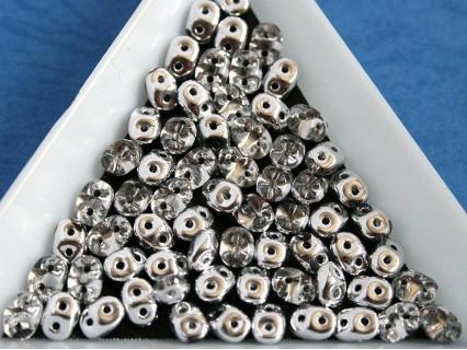 Margele sticla Cehia forma superduo cca 2.5 x 3 x 5 mm culoare cristal/ argintiu (5 gr) T59