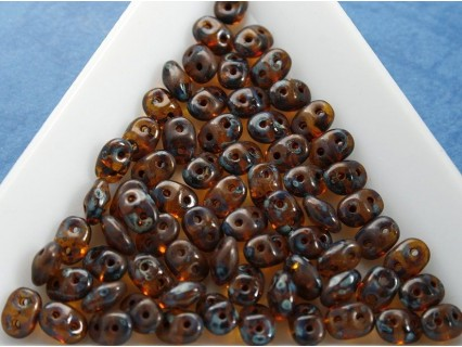 Margele sticla Cehia forma superduo 2.5 x 3 x 5 mm culoare jonquile picasso (5 gr) T70