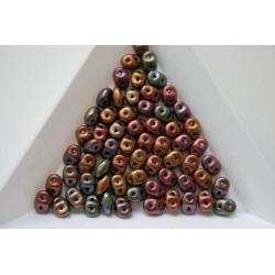 Margele sticla Cehia forma superduo 2.5 x 3 x 5 mm culoare bronze rainbow (5 gr) T85