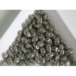 Superduo - margele sticla Cehia forma superduo 2.5 x 3 x 5 mm culoare luster opaque gray (5 gr) T98