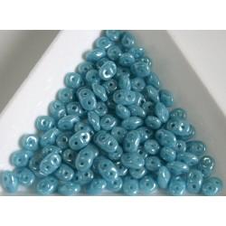 Superduo - margele sticla Cehia forma superduo 2.5 x 3 x 5 mm culoare luster turqupise blue (5 gr) T99