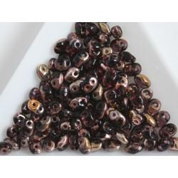 Margele superduo 2.5x5mm, T53 - copper amethyst, 5g