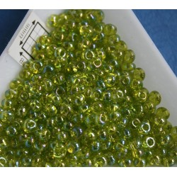 M03-164 margele Toho magatama 3mm, transparent rainbow lime green, 10g