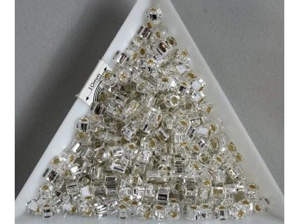 C03-21 margele Toho cub 3mm, silver lined crystal, 5g