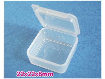 Storage box 22x22x8mm - cutiuta plastic transparent, 1buc.