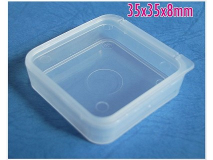 Storage box 35x35x8mm - cutie depozitare plastic transparent, 1 buc