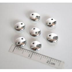 Spatiator -margele sticla Cehia disc 6x2mm culoare argintiu (10 buc)