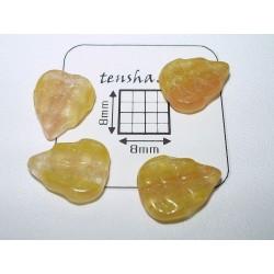 FR03 - margele frunza, galben inchis, 10 buc