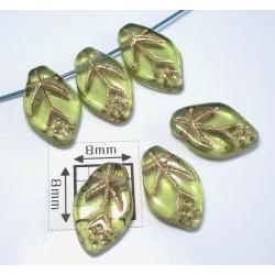 FR11 - margele frunza, verde peridot cu model auriu , 10 buc