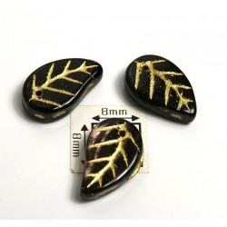 FR14 - margele frunza, negru/ametist cu model auriu ,10 buc