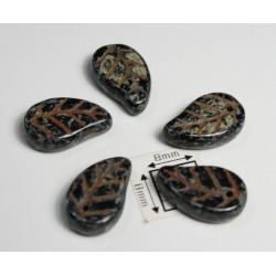 FR18 - margele frunza, negru/gri cu model moro roscat ,10 buc