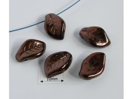 FR42 - margele frunza, dark bronz,( 4 buc)