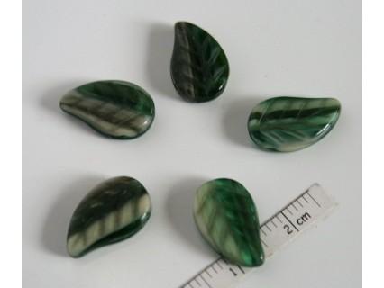 FR77 - margele frunza, nuante de verde ,10 buc