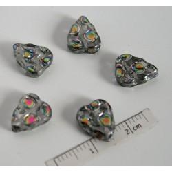FR79 - margele frunza, mozaic argintiu ,10 buc