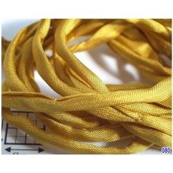 Snur matase naturala Ø3mm, 110cm, [080] galben inchis , amber ( 1 bucata )