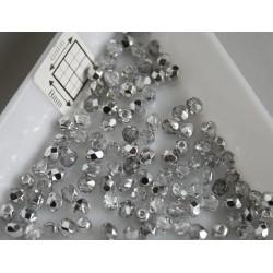 FP 3 - margele sticla firepolish 3mm, culoarea argintiu/cristal (100 buc) CE-03-229