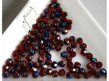 FP 3 - margele sticla firepolish 3mm, culoarea blue iris - siam ruby (100 buc) CE-03-237
