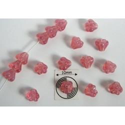 Clopotei 4 x 6 mm - margele sticla Cehia - culoare milky pink (10 buc) b06