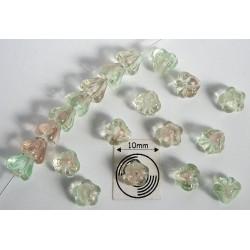 Clopotei 4 x 6 mm - margele sticla Cehia - culoare verde pal/crem/cristal clar (10 buc) b07