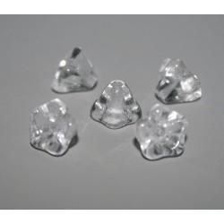 Clopotei cca 6x8 mm - margele sticla presata Cehia flori - cristal clar (10 buc).