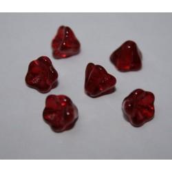Clopotei cca 6x8 mm - margele sticla presata Cehia flori - rosu transparent (10 buc).