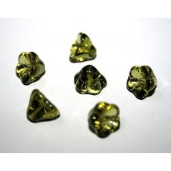 Clopotei cca 6x8 mm - margele sticla presata Cehia flori - verde peridot transparent (10 buc).