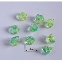 Clopotei 6 x 8 mm - margele sticla Cehia - culoare mix verde (10 buc).