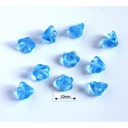 Clopotei 6 x 8 mm - margele sticla Cehia - culoare albastru transparent (10 buc).