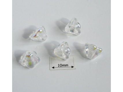 Clopotei 6 x 8 mm - margele sticla Cehia - culoare cristal AB (10 buc).