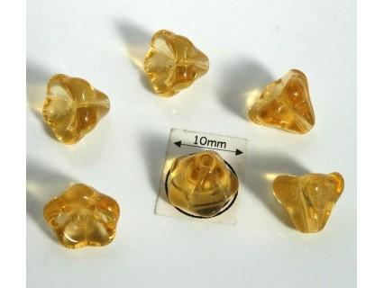 Clopotei 8 x10mm - margele sticla presata Cehia - culoare topaz (4 buc) b36