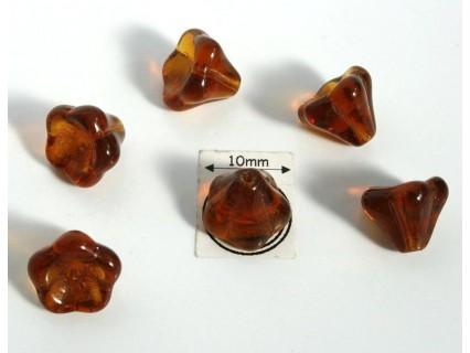 Clopotei 8 x10mm - margele sticla presata Cehia - culoare dark topaz (4 buc) b38