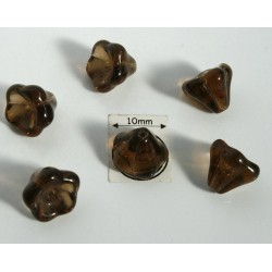 Clopotei 8 x10mm - margele sticla presata Cehia - culoare smoky topaz (4 buc) b39