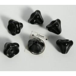 Clopotei 8 x10mm - margele sticla presata Cehia - culoare jet (4 buc) b41