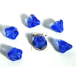 Clopotei 8 x10mm - margele sticla presata Cehia - culoare sapphire (4 buc) CE86.