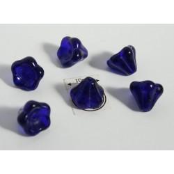 Clopotei 8 x10mm - margele sticla presata Cehia - culoare cobalt (4 buc) b43