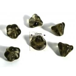 Clopotei 8 x10mm - margele sticla presata Cehia - culoare dark black diamond (4 buc) b45