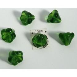 Clopotei 8 x10mm - margele sticla presata Cehia - culoare green (4 buc) b46