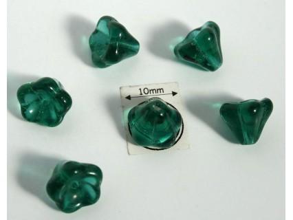 Clopotei 8 x10mm - margele sticla presata Cehia - culoare emerald (4 buc) CE92.