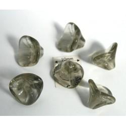 Clopotei 8 x 12 mm - margele sticla presata Cehia clopotei trei petale - black diamond (4 bucati) b52