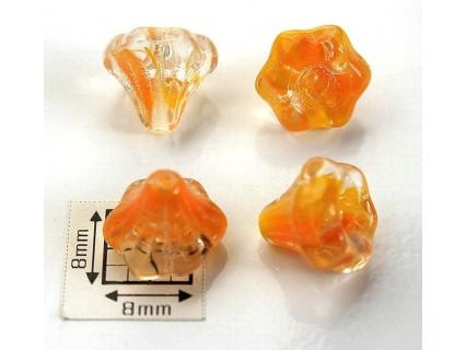 Clopotei 10x9 mm - margele sticla presata Cehia flori - crystal/orange (2 bucati)